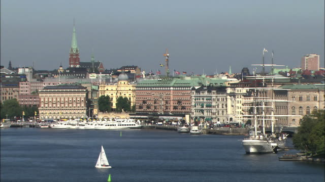 boats are anchored in a port in stockholm, sweden. - anchored stock videos & royalty-free footage