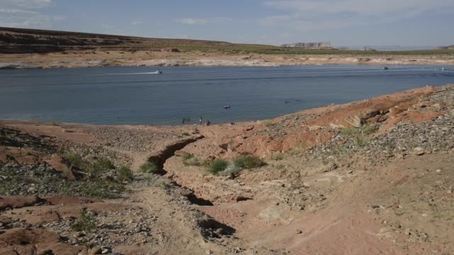 boats are seen riding on lake powell in page arizona us on thursday june 25 2015 shots various wide shots of boats passing by in the water with... - page arizona stock videos and b-roll footage