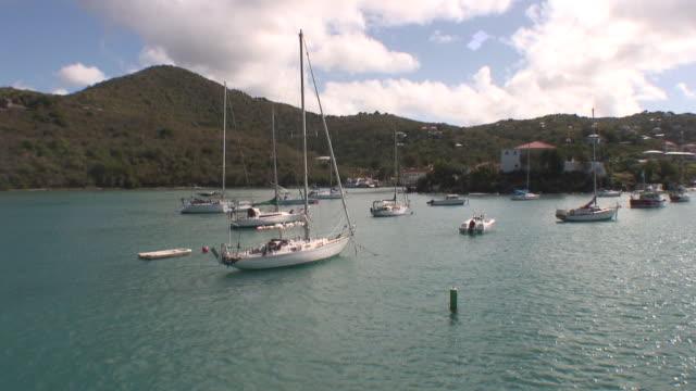WS HA POV Boats at bay, USA, U.S. Virgin Islands, St. Thomas