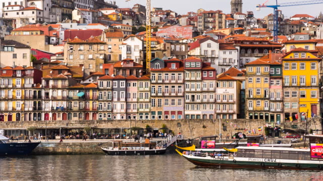 cu boats at ribeira quai - porto district portugal stock videos & royalty-free footage