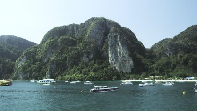 vídeos de stock, filmes e b-roll de boats at ton sai bay of phi phi don, koh phi phi, thailand - ilhas phi phi