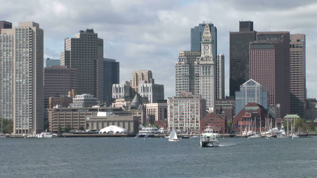 Boats cruising through Back Bay in Boston United States