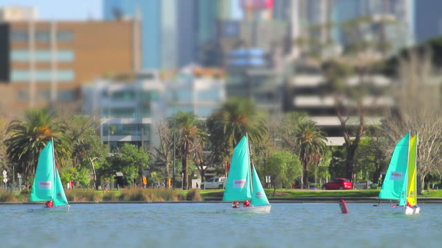 WS T/L Boats flitting about on Albert Park Lake looks like Toy town / Melbourne, Victoria, Australia