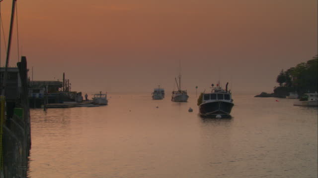 boats float in a calm harbor. - region new england stock-videos und b-roll-filmmaterial