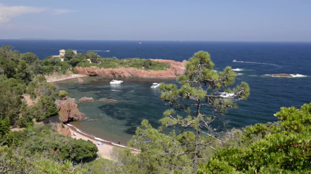 boats in a bay at cap roux - var stock videos & royalty-free footage