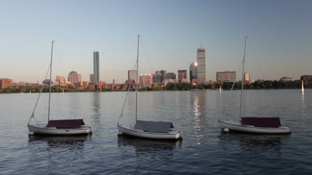 boats in boston - river charles stock videos & royalty-free footage