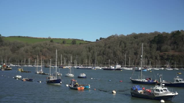 boats in dartmouth harbour, devon - town stock videos & royalty-free footage