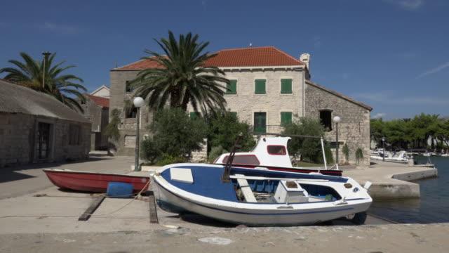 Boats in fishing village