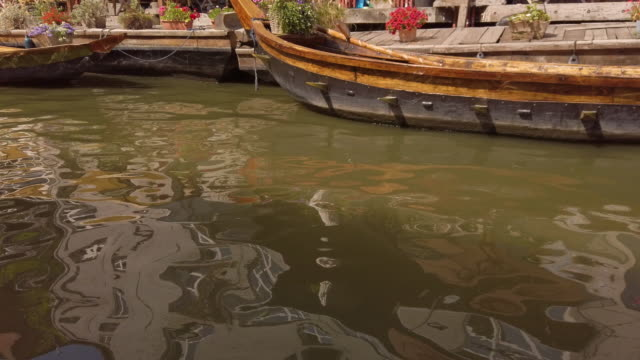 boats in ghent riverside, belgium - western european culture stock videos & royalty-free footage