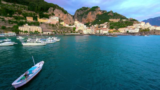 boats in harbour & town facade, amalfi, province of salerno, italy - cape stock videos & royalty-free footage