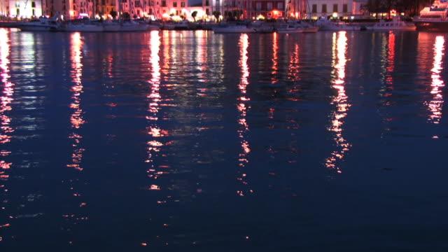 ms, tu, boats in ibiza town marina illuminated at night, ibiza, balearic islands, spain - tourist resort stock videos and b-roll footage