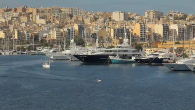 ws ha boats in marsamxett harbor / valletta, malta - valletta stock videos & royalty-free footage