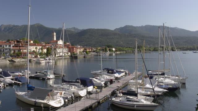 Boats in port of Feriolo on Lago Maggiore