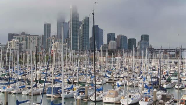 boats in south beach harbor marina, san francisco - drone shot - marina stock videos & royalty-free footage