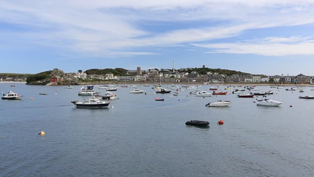 boats in the harbour at hugh town, st mary's scilly isles. - sailing stock videos & royalty-free footage