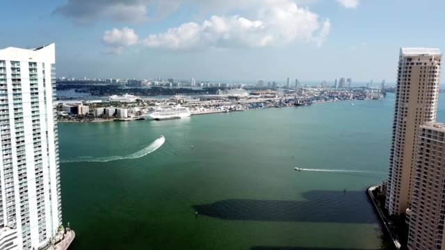 boats in the miami bay - harbour stock videos & royalty-free footage