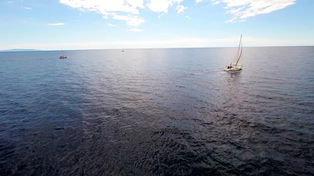 空から見た海に浮かぶボート