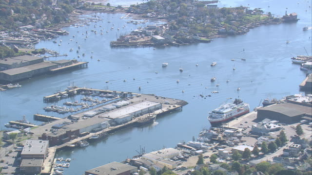 aerial boats in the waterways of the harbor / gloucester, massachusetts, united states - gloucester massachusetts stock videos & royalty-free footage