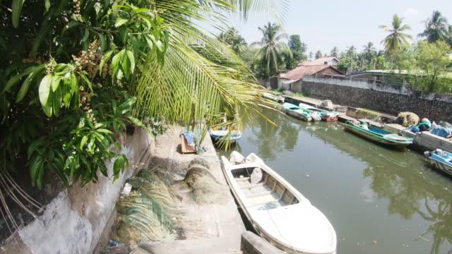 ms boats moored along sunny,narrow canal,sri lanka - cultura singalese video stock e b–roll