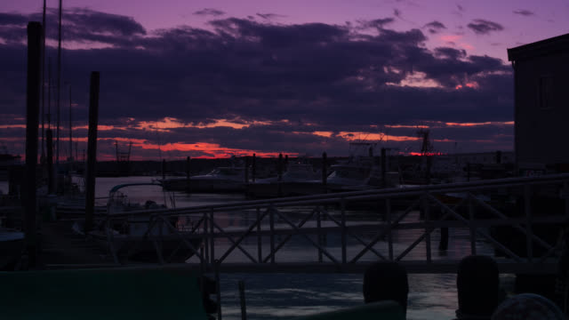 ws t/l boats moored at harbour with romantic sky - romantic sky stock videos & royalty-free footage