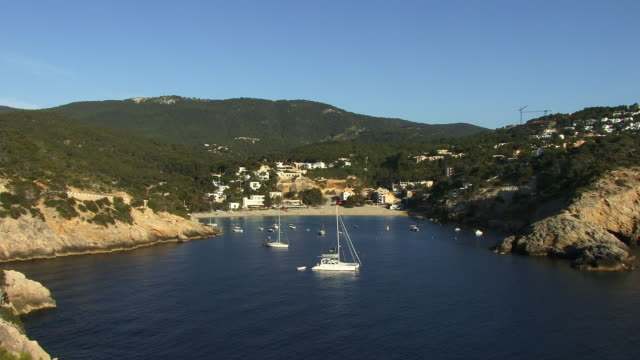 WS, HA, Boats moored in bay, Cala Vedella, Ibiza, Balearic Islands, Spain
