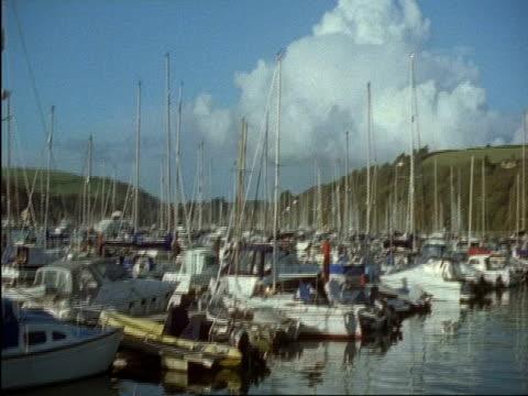 wa boats moored in dartmouth and kingswear yacht marina, devon, england - dartmouth england stock videos & royalty-free footage