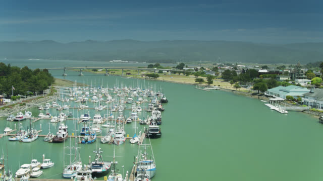 boote vor woodley island in arcata bay in eureka, kalifornien - bay of water stock-videos und b-roll-filmmaterial