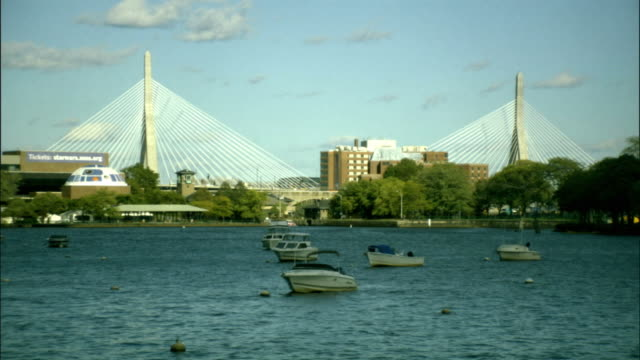 ws, boats moored on charles river, leonard p. zakim bunker hill memorial bridge in background, boston, massachusetts, usa - ザキム・バンカーヒル橋点の映像素材/bロール