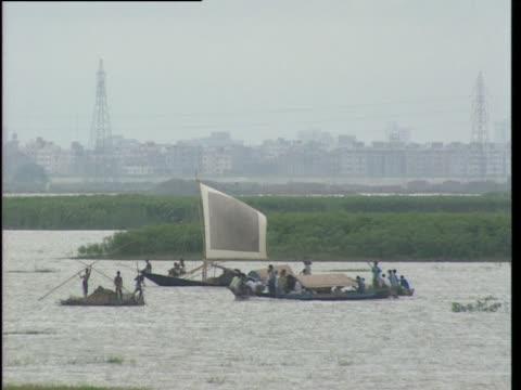 boats move through a marshy lake - bangladesh stock videos & royalty-free footage