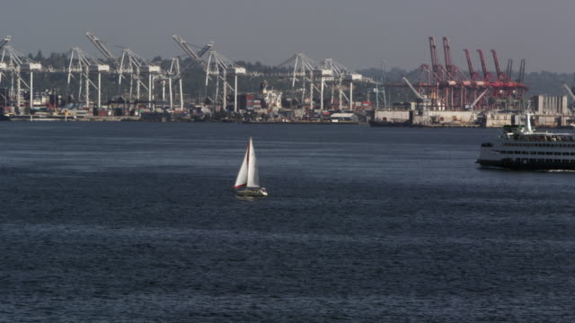 boats moving through the water on the puget sound - puget sound stock videos & royalty-free footage