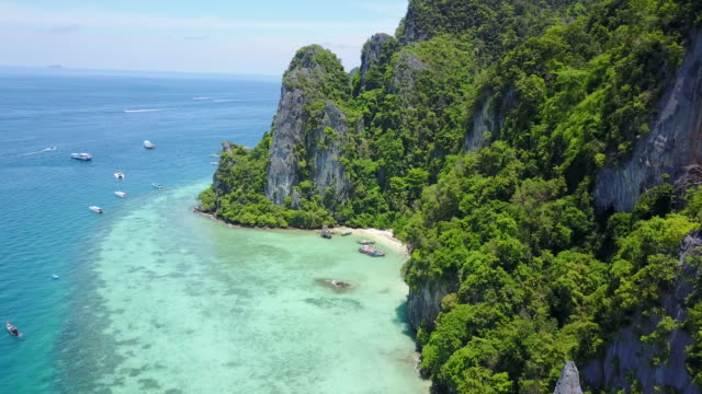 boats off coast in thailand, aerial - thailand stock videos & royalty-free footage