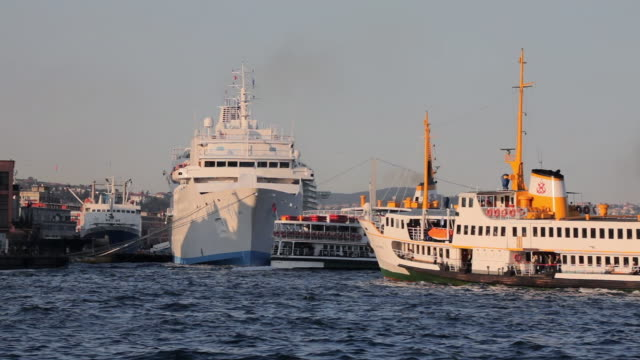 ms boats on golden horn, istanbul, turkey - passenger ship stock videos & royalty-free footage