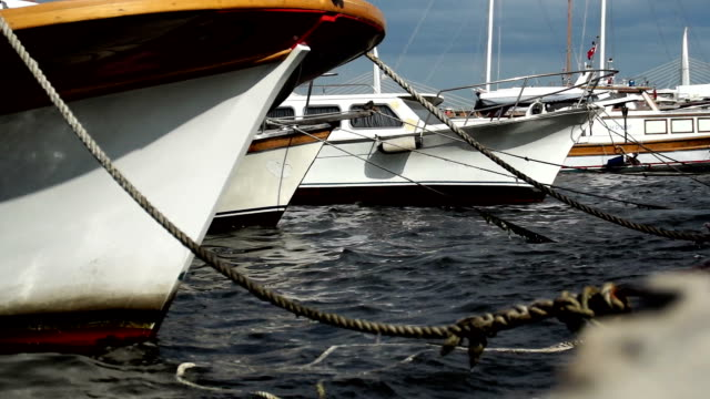 boats on harbor - anchored stock videos & royalty-free footage