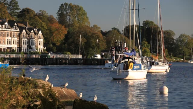 boats on lake windermere at ambleside lake district uk - utensil stock videos & royalty-free footage