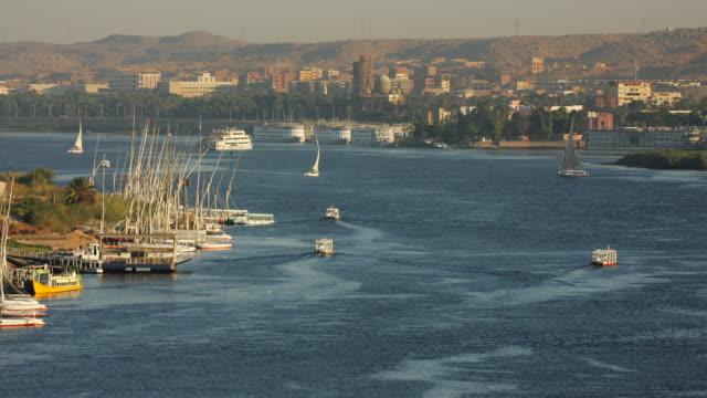 T/L, WS, Boats on Nile, Aswan, Egypt