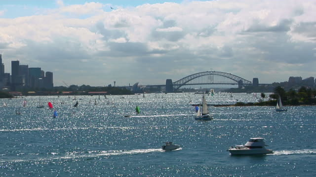 ws, boats on sydney harbor, bridge and opera house in distance, sydney, australia - real time stock videos & royalty-free footage