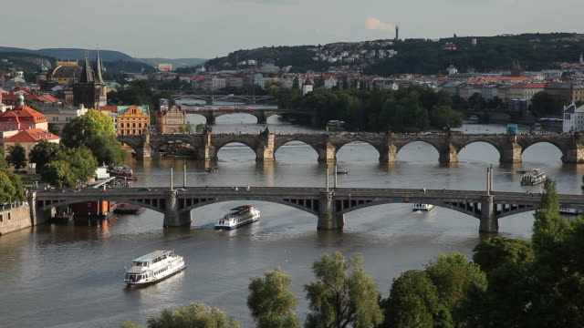 ws ha boats on vltava river / prague, czech republic - river vltava stock videos & royalty-free footage