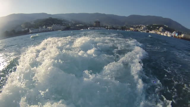 Boats path on sea waves - HD, NTSC