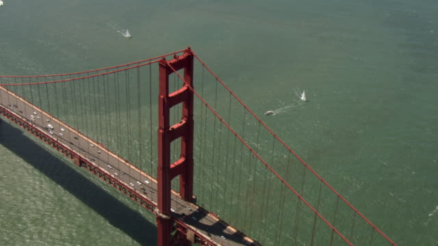 boats sail past the golden gate bridge in san francisco bay. - golden gate bridge stock videos & royalty-free footage