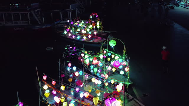 boats with lanterns at night ,hoi an - lantern stock videos & royalty-free footage