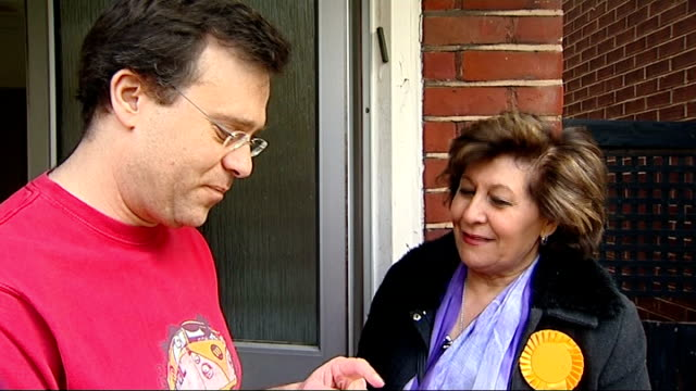 bob blackman interview sot mcnulty interview sot liberal democrat campaigner doorstepping constituents constituent speaking to nahid boethe sot... - pamphlet stock videos & royalty-free footage