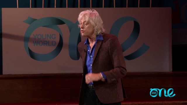 bob geldof addresses the one young world conference in london criticising certain world leaders and saying recent events in westminster had been a... - bob geldof stock videos & royalty-free footage