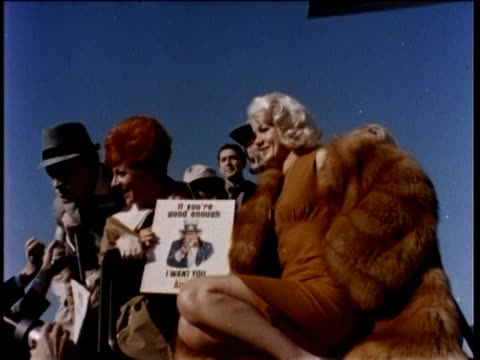 bob hope preparing to leave for uso show with star carroll baker - carroll baker stock videos & royalty-free footage