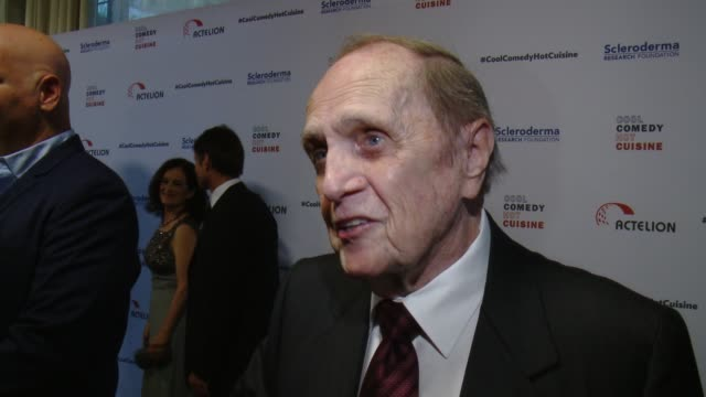bob newhart on why it was important for him to help honor bob saget and the work he's done for srf, why laughter makes the tough times a little... - ボブ ニューハート点の映像素材/bロール