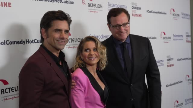 bob saget, candace cameron-bure and john stamos at scleroderma research foundation's cool comedy - hot cuisine at the beverly wilshire four seasons... - four seasons hotel stock videos & royalty-free footage
