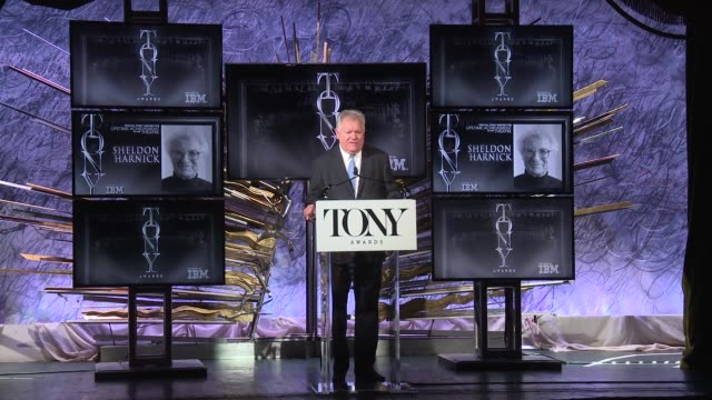 bob wankel announces the recepients of the lifetime achievement in the theater award and special tony award at the tony awards nominations... - 生涯功労賞点の映像素材/bロール
