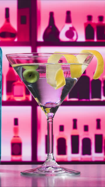 bobbing olive in martini glass - peel stock videos & royalty-free footage