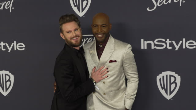 vídeos de stock, filmes e b-roll de bobby berk and karamo brown at the warner bros. and instyle host21st annual post-golden globes party at the beverly hilton hotel on january 5, 2020... - karamo brown