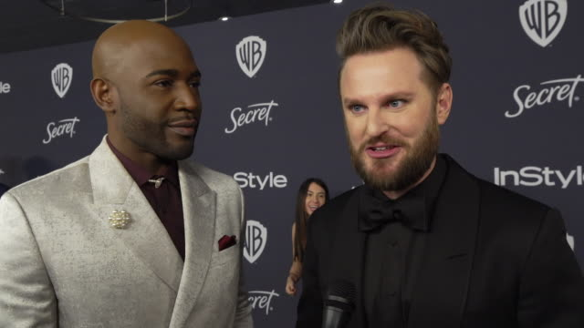 vídeos de stock, filmes e b-roll de bobby berk, karamo brown on why they wanted to celebrate golden globes with instyle, their favorite moments from the show, talks globes fashion and... - karamo brown