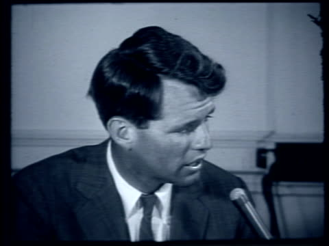 bobby kennedy comments on effectiveness of mcclellan committee and jimmy hoffa bobby kennedy comments on mcclellan committee on august 01 1959 in new... - 1959 stock-videos und b-roll-filmmaterial
